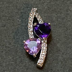 Purple Amethyst Hearts And Diamonds 925 Silver